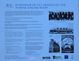 "Memorial to Titanic engineers and all ""heroes of the marine engine room"""
