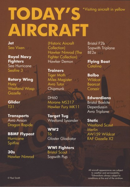 Fly Navy Programme - schedule