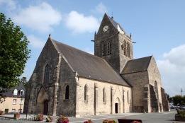 Sainte-Mere-Eglise Church - note dummy parachutist on tower