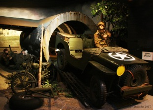 Jeep disembarking from a Horsa glider
