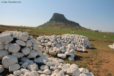 Each white painted cairn marks a location where British of NNC soldiers died