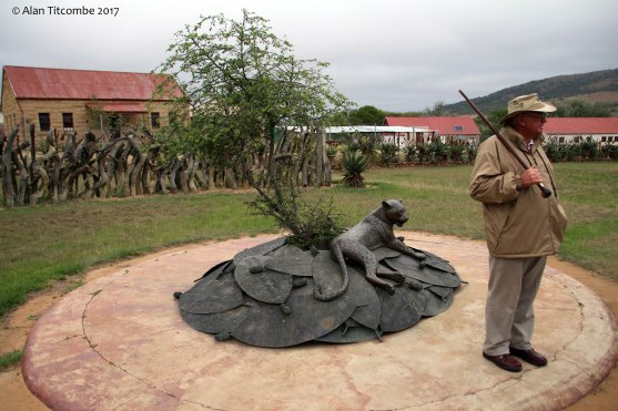 Recent monument to the Zulu fallen, with Anthony our tour guide