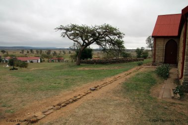 Looking alone the line of the North wall and showing the location of the inner redoubt and well built stone kraal