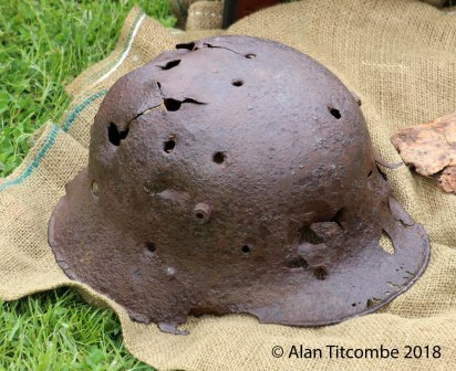 WW1 - German Infantry Helmet used as traget practice for a Vickers Machine