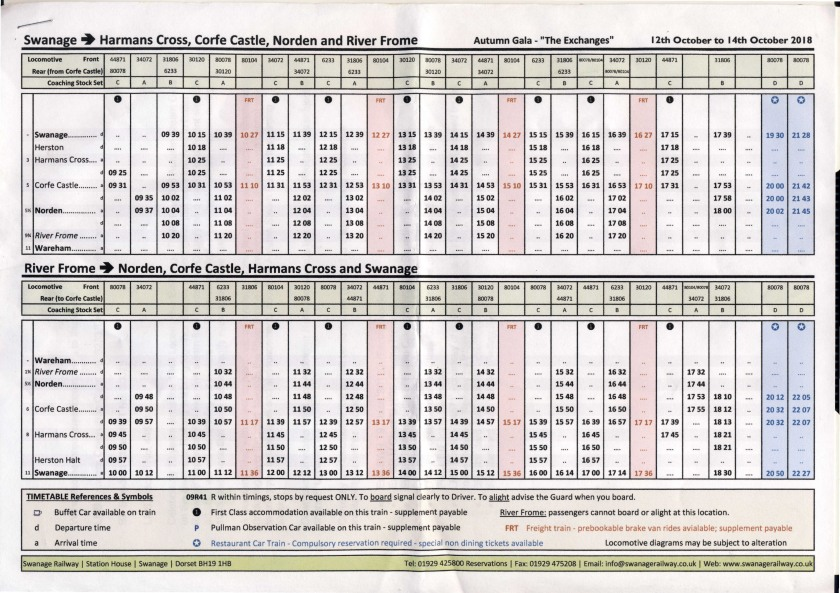 Swanage Timetable