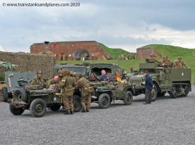 British convoy, Jeep x 2 & International half-track - British